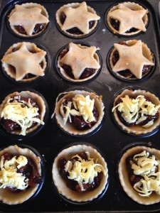 star pastry and grated marizpan - ready for the oven. Fingers crossed!