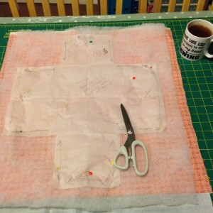 Cutting out - 2 fat quarters, interfacing and wadding all at the same time